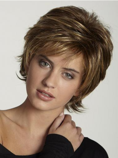 Brown Layered Straight Style Short Wigs