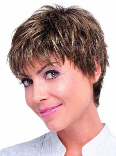 Brown Boycuts Straight Modern Short Wigs
