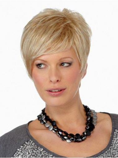 Straight Blonde Boycuts Convenient Short Wigs