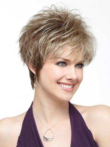 Blonde Boycuts Synthetic Flexibility Short Wigs