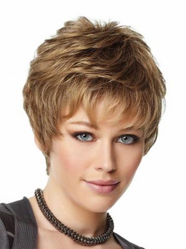 Brown Boycuts Wavy Suitable Short Wigs