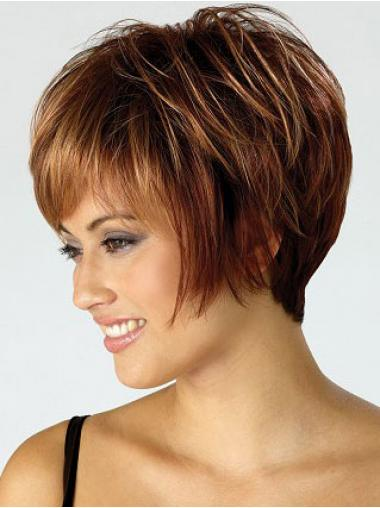 Auburn Bobs Straight Soft Short Wigs