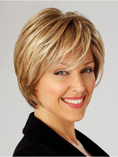 Straight Blonde Layered Modern Short Wigs