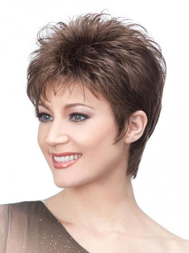 Brown Boycuts Straight Popular Short Wigs