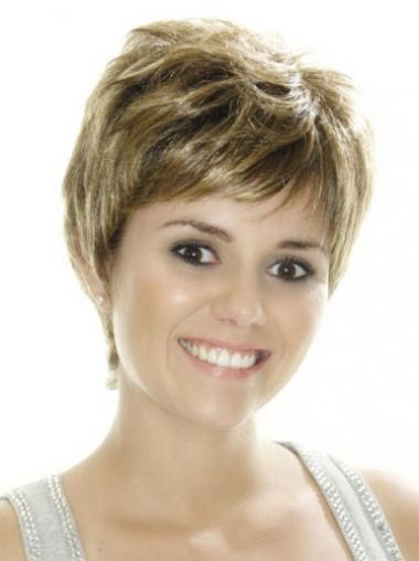 Straight Brown Boycuts Affordable Short Wigs