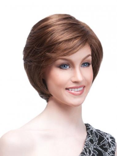 Synthetic Auburn Straight High Quality Medium Wigs