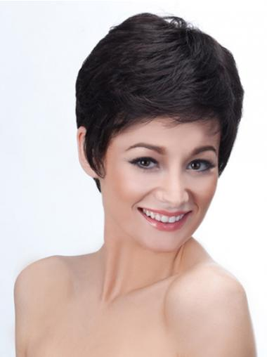 Black Boycuts Straight Hairstyles Short Wigs