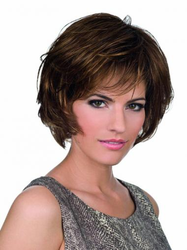Brown Bobs Wavy Durable Medium Wigs