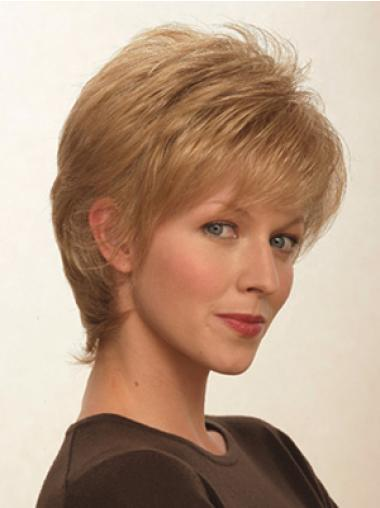 Straight Blonde Layered Flexibility Short Wigs