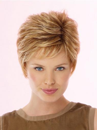Blonde Boycuts Wavy Suitable Celebrity Wigs
