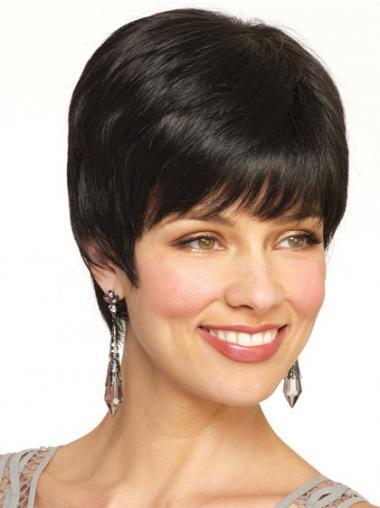 Remy Human Hair Black Sleek Short Wigs