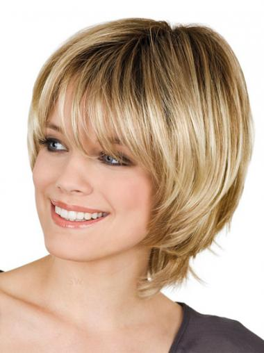 Blonde With Bangs Straight Soft Short Wigs