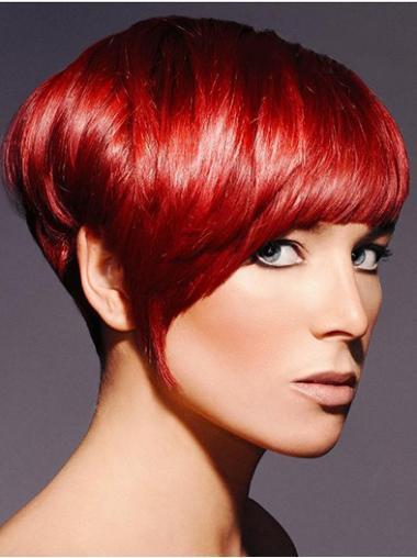 Red Boycuts Straight Designed Short Wigs