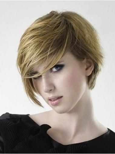 Blonde Layered Straight Style Short Wigs
