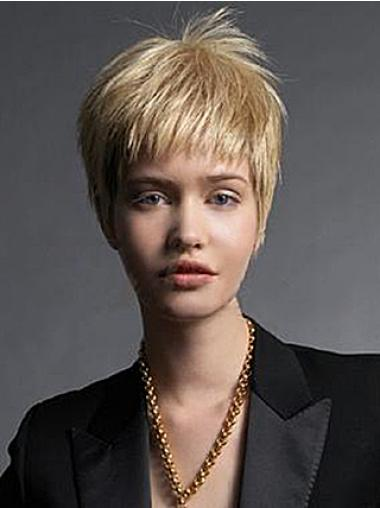 Blonde Remy Human Hair Hairstyles Short Wigs