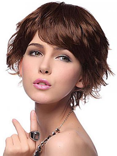 Auburn Layered Wavy Good Short Wigs