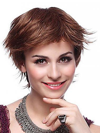 Auburn Layered Straight Hairstyles Short Wigs