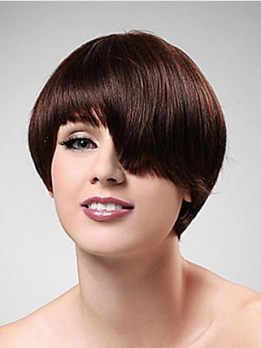 Auburn Boycuts Straight Natural Short Wigs