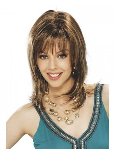 Fabulous Brown With Bangs Straight Medium Wigs