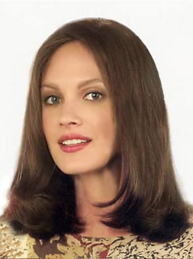 Brown Lace Front Straight Natural Medium Wigs
