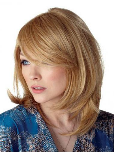 Blonde With Bangs Straight Trendy Medium Wigs
