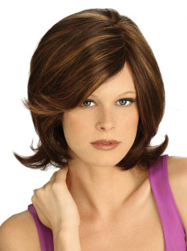 Straight Brown Lace Front Affordable Medium Wigs