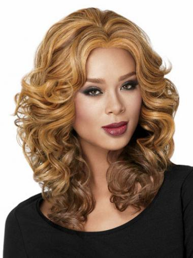 Blonde Without Bangs Curly Affordable Medium Wigs