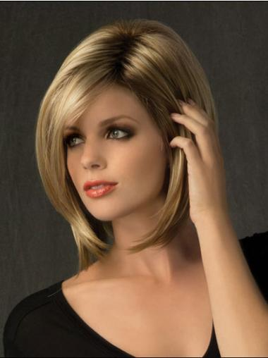 Bobs Blonde Synthetic Affordable Medium Wigs