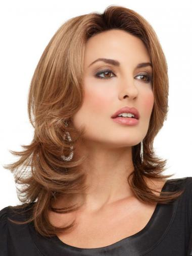 Brown Lace Front Wavy Fashion Medium Wigs