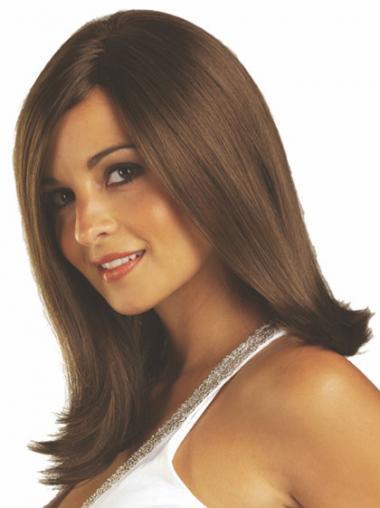 Brown Without Bangs Straight Great Medium Wigs