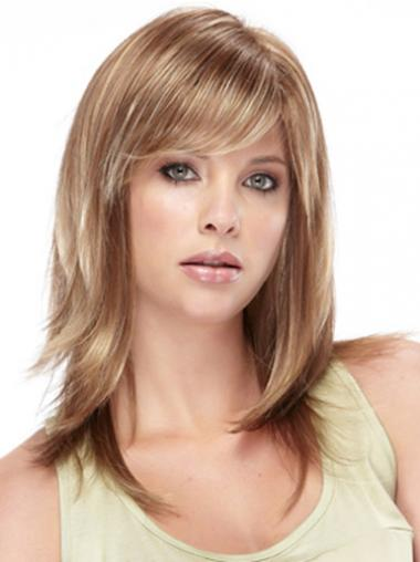 Brown Synthetic Straight Soft Medium Wigs