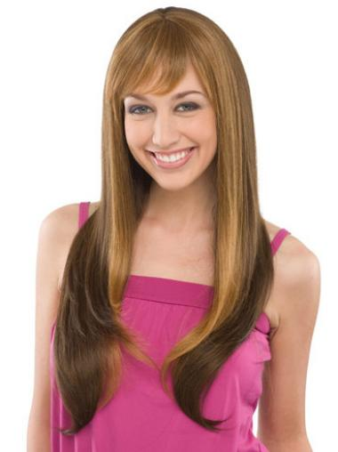 Straight Brown With Bangs Good Long Wigs