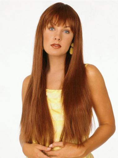 With Bangs Auburn Straight Gorgeous Long Wigs