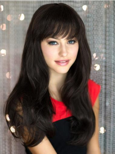 Black With Bangs Straight Perfect Long Wigs