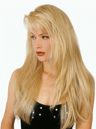 Straight Blonde With Bangs Natural Long Wigs