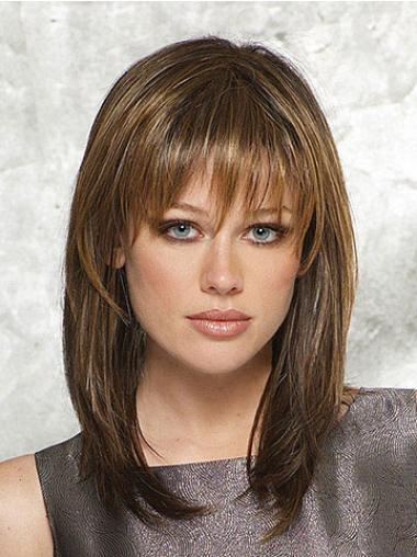 Straight Brown With Bangs Exquisite Medium Wigs