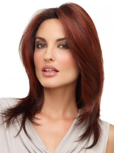 Red Lace Front Straight Flexibility Medium Wigs