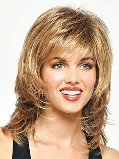 Straight Blonde With Bangs New Medium Wigs