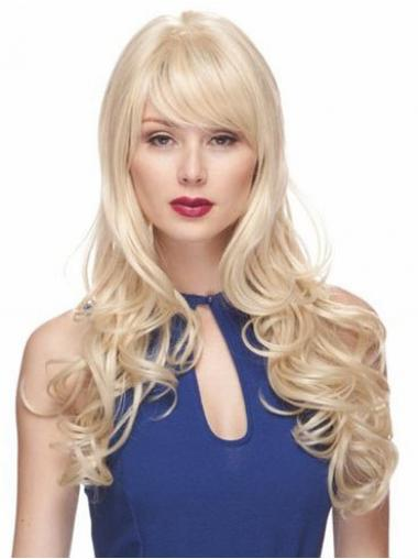 Blonde With Bangs Wavy Top Long Wigs