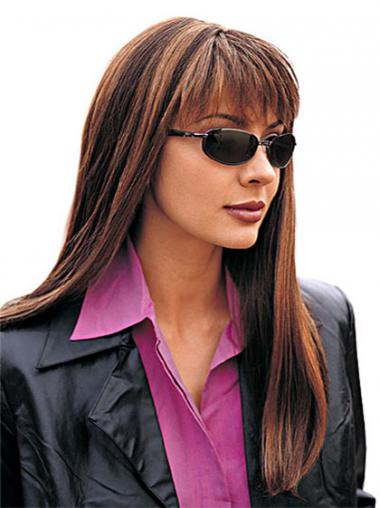 With Bangs Auburn Straight Hairstyles Long Wigs