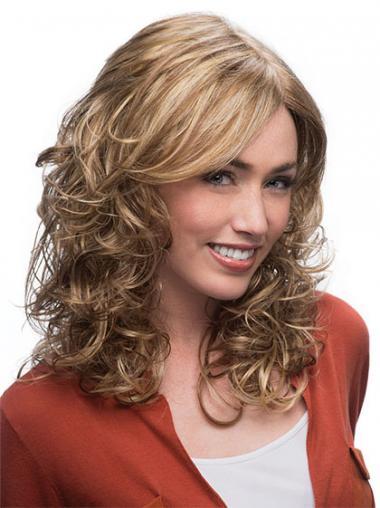 Blonde Layered Wavy Style Medium Wigs