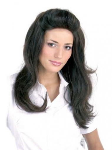 Black Remy Human Hair Straight Stylish Long Wigs