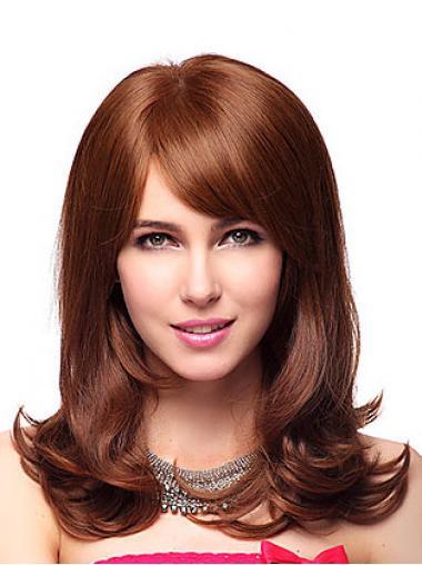 Auburn With Bangs Wavy Discount Medium Wigs