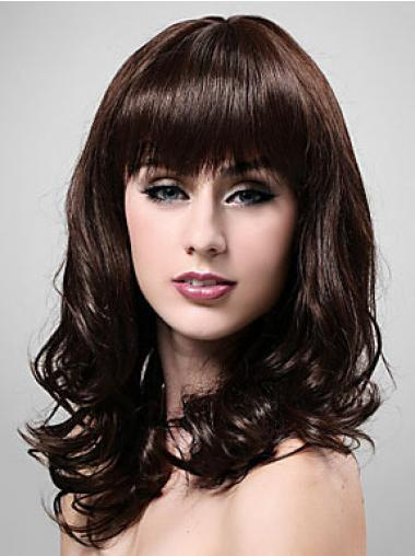 Brown With Bangs Wavy Cheapest Medium Wigs