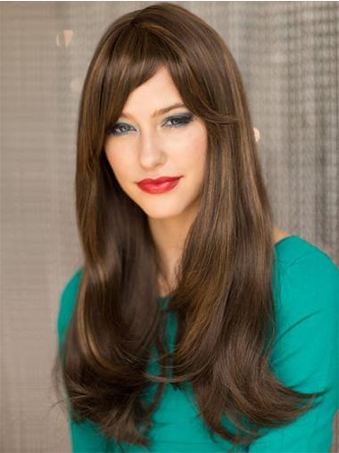 Straight Brown With Bangs Great Long Wigs