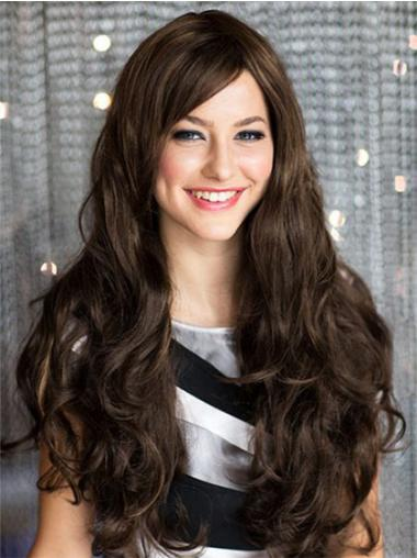 Brown With Bangs Wavy Modern Long Wigs