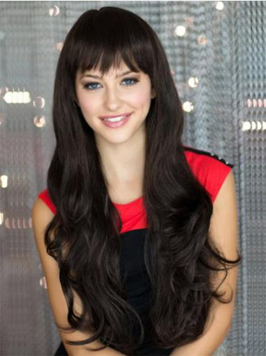 Black With Bangs Wavy Soft Long Wigs