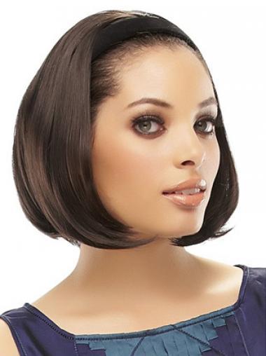 Brown Straight Sleek Medium Wigs