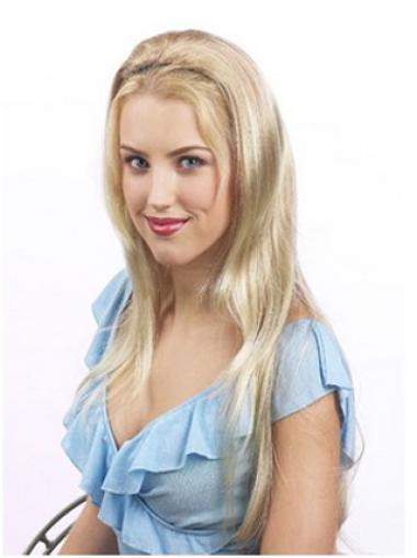 Straight Blonde Discount Wigs/Human Hair Wigs & Half Wigs