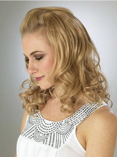 Blonde Wavy Soft Wigs/Human Hair Wigs & Half Wigs